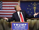 Magnata Donald Trump durante discurso em Carmel, Indiana, antes de vencer as primárias no Estado