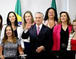 Temer recebe para reunião a bancada feminina da Câmara dos Deputados, na sala de reuniões do Palácio do Planalto