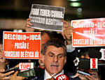 Romero Jucá participa de coletiva de imprensa após cerimônia de entrega de nova meta fiscal