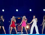 As Spice Girls em apresentação na cerimônia de encerramento da Olimpíada de Londres, em 2012