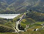 Vista aérea mostra os vinhedos e a sede da vinícola Quinta do Crasto, na região do Douro, norte de Portugal