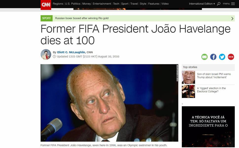 Imprensa internacional repercute morte de Havelange