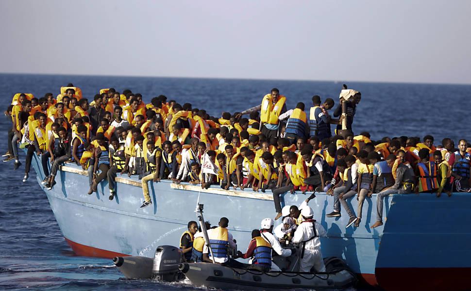 Refugiados líbios resgatados pela Itália