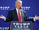 Donald Trump discursa em New Hampshire no sábado (15)