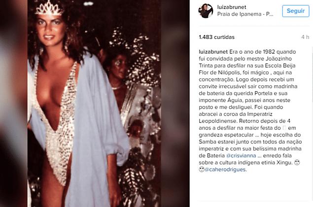 Luiza Brunet fez um post no Instagram para anunciar o retorno aos desfiles no Carnaval