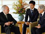 Presidente Michel Temer durante  encontro com o imperador japonês Akihito
