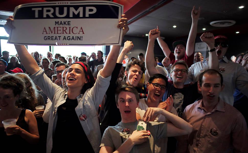 Eleitores de Donald Trump comemoram vit�ria