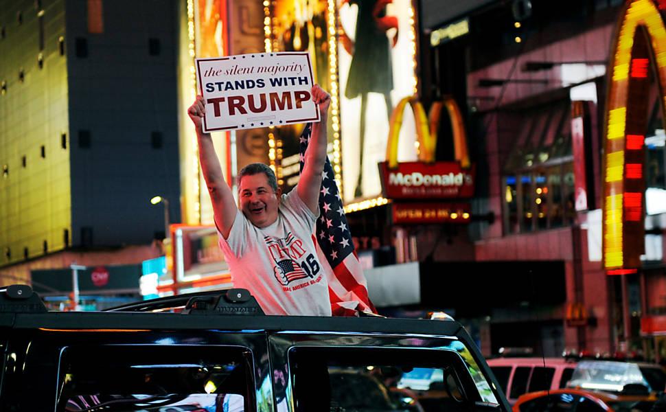 Eleitores de Donald Trump comemoram vitória