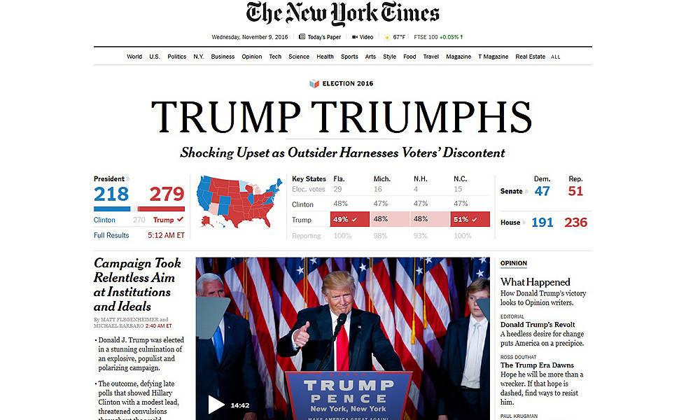 Repercussão da vitória de Trump na mídia