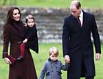 Príncipe William e a duquesa de Cambridge, Kate Middleton, levam os filhos George e Charlotte para missa natalina na igreja de St. Mark, em Englefield, na Inglaterra; a rainha Elizabeth 2ª, 90, não pôde comparecer ao evento devido a uma forte gripe