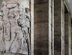 A arquitetura do prédio utilizando simbologia da época do Império Romano e que foi também adotada pelo regime fascista italiano