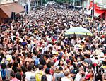 Bloco de Carnaval Sereianos na rua Bento Freitas, no centro de São Paulo