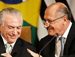 Michel Temer e Geraldo Alckmin durante o Conselho Empresarial Brasil-Suécia, no Palácio dos Bandeirantes, em São Paulo