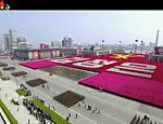 Vista aérea da parada militar que celebra os 105 anos do nascimento do fundador da Coreia do Norte, Kim Il Sung