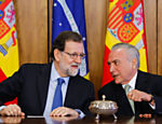 O presidente Michel Temer junto ao premiê espanhol, Mariano Rajoy, em Brasília
