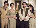 A família Bulhosa: Geraldinho (Johnny Massaro),  Maria Teresa (Fernanda Torres), Geraldo (Alexandre Nero) e Catarina (Lara Tremouroux)