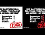 Comparação de dois cartazes criados pelas Guerrilla Girls em 1985 e 2015