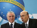 Presidente do Brasil, Michel Temer, e o ministro Henrique Meirelles em cerimônia de lançamento do novo programa do BNDES