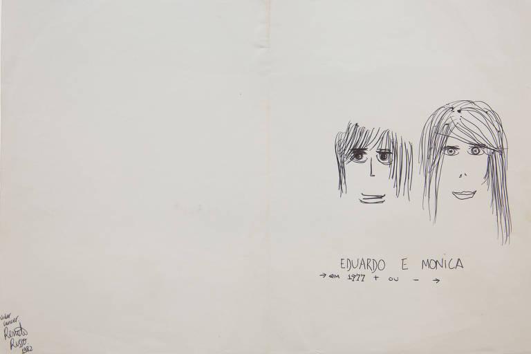 Desenho de Eduardo e Monica feito por Renato Russo em 1982.