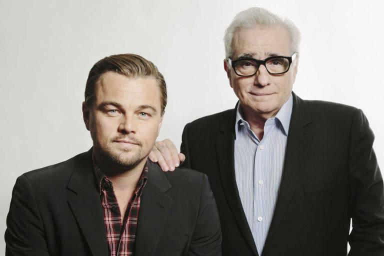 Leonardo DiCaprio (à esq.) e o cineasta Martin Scorsese, em Nova York