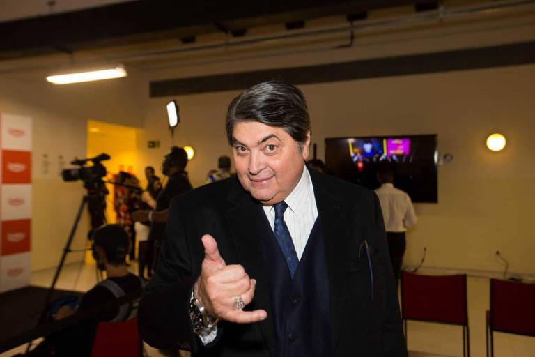 José Luiz Datena em prêmio de humor, no Auditório Ibirapuera, em São Paulo