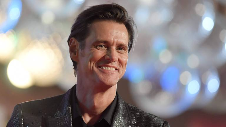 "O ator Jim Carrey na première do filme ""Jim & Andy: The Great Beyond"""