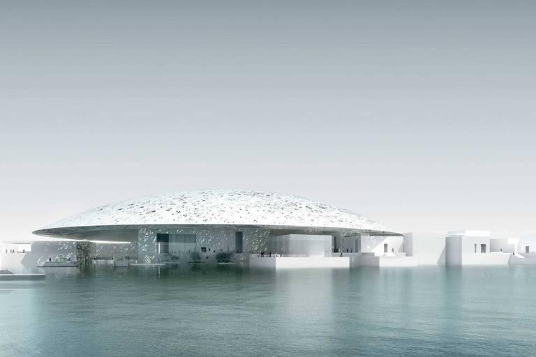 Louvre de Abu Dhabi é parcialmente coberto por uma gigantesca cúpula branca