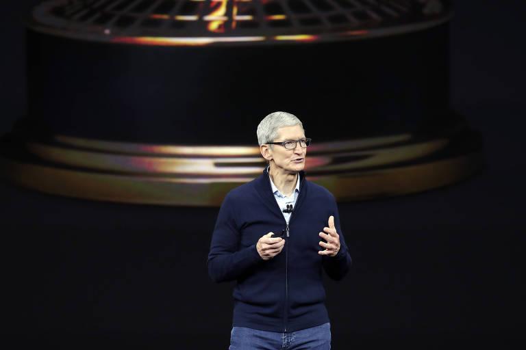 Tim Cook, CEO da Apple, no evento de lançamento dos novos iPhones