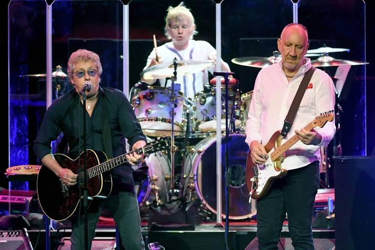 Roger Daltrey, Zak Starkey e Pete Townshend, da banda The Who