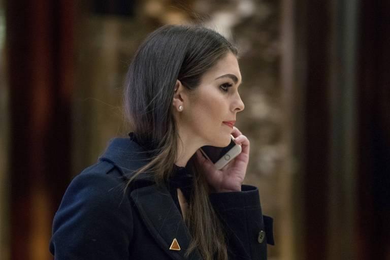 Hope Hicks, nova diretora de comunica��o da Casa Branca, em imagem de janeiro