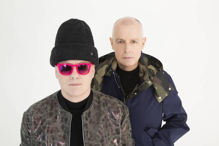O duo britânico Pet Shop Boys faz show no Espaço das Américas