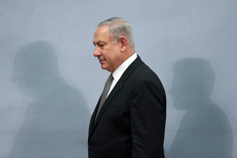 O primeiro-ministro de Israel, Benjamin Netanyahu, durante entrevista coletiva no México