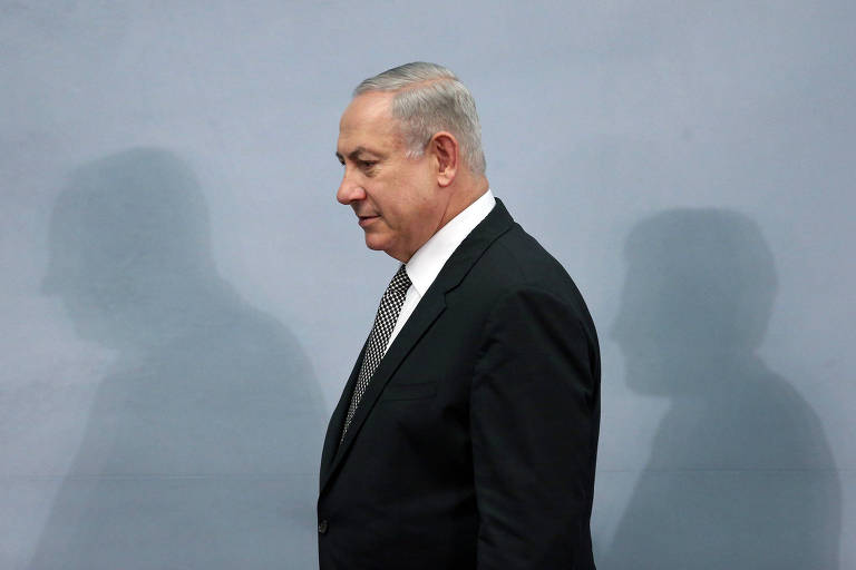 O primeiro-ministro de Israel, Benjamin Netanyahu, durante entrevista coletiva no M�xico