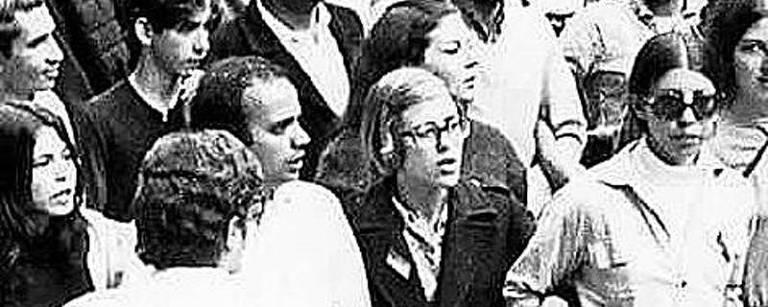 passeata contra ditadura em foto em preto e branco – Arquivo Pessoal