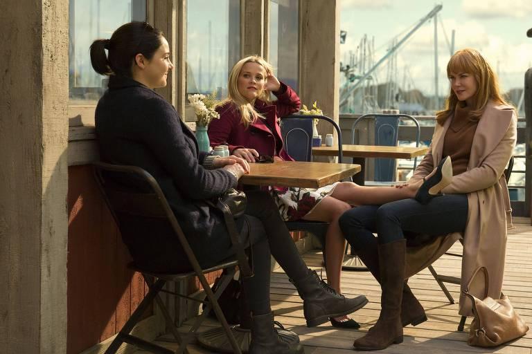 Shailene Woodley, Reese Witherspoon e Nicole Kidman em cena da série 'Big Little Lies' – HBO/Divulgação