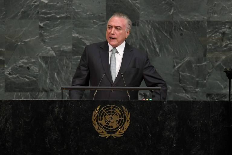 O presidente Michel Temer discursa na Assembleia Geral da ONU