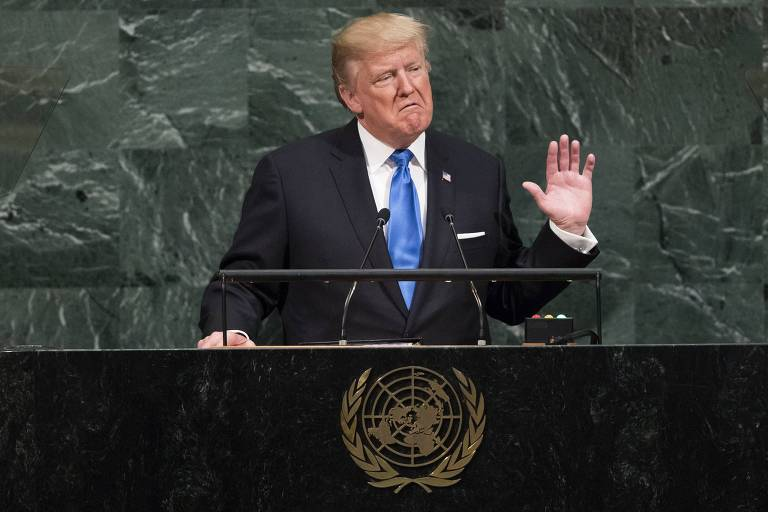 US President Donald Trump addresses the 72nd Annual UN General Assembly in New York on September 19, 2017. / AFP PHOTO / Jewel SAMAD