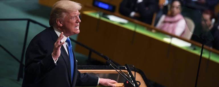 Donald Trump durante discurso na Assembleia da ONU, em NY – Jewel Samad/AFP