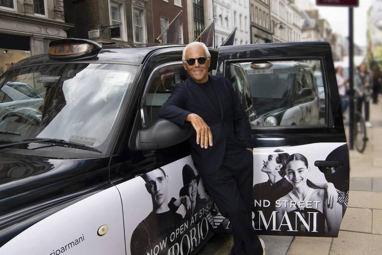 O estilista Giorgio Armani, 83, em Londres