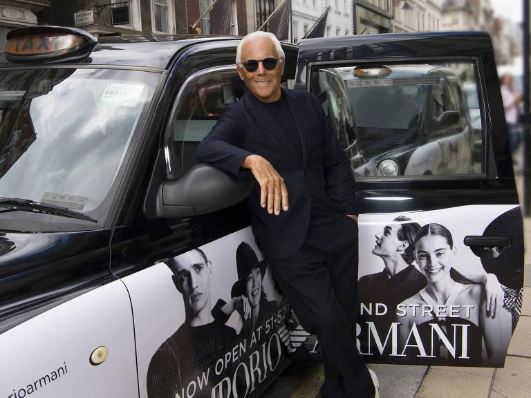 O estilista Giorgio Armani, 83, em Londres – Divulgação