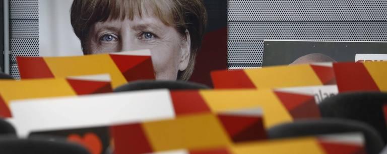 Comício de Angela Merkel em Schwerin, no norte da Alemanha – Odd Andersen/AFP