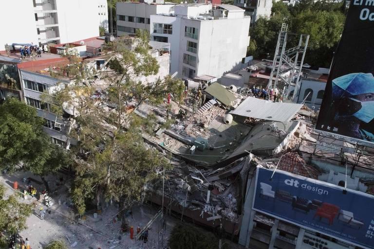 Imagem capturada de Drone, onde mostra prédios atingidos por um poderoso terremoto na Cidade do México que matou mais de 200 nesta ultima terça feira, 19 de setembro