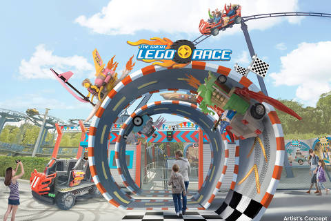 """Previsão da entrada da atração """"The Great Lego Race"""", que une montanha-russa a realidade virtual nos parques Legoland"""