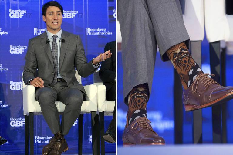 """O Primeiro Ministro do Canadá Justin Trudeau usando meias com personagem de """"Star Wars"""""""