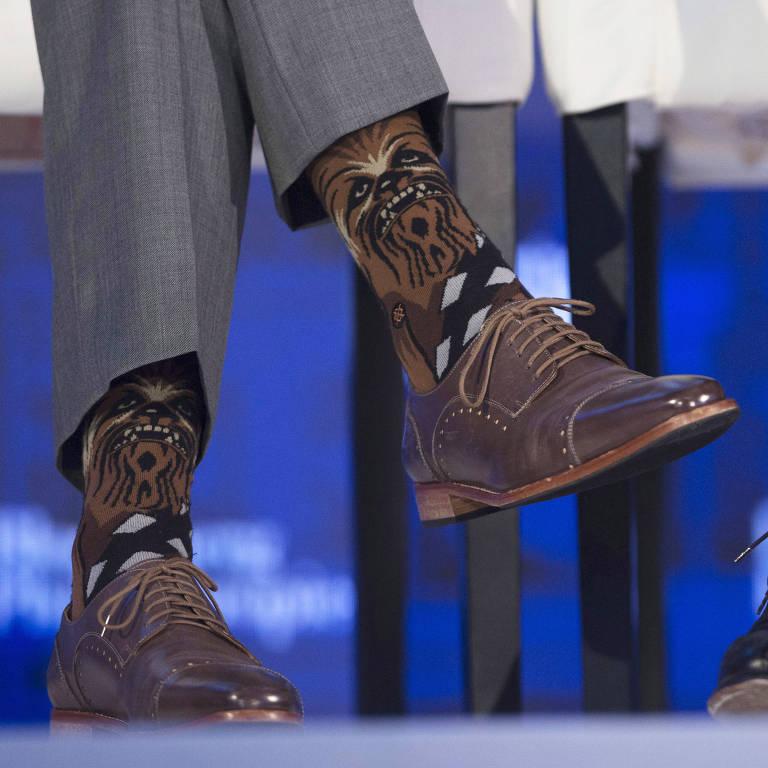 As meias de Chewbacca do primeiro-ministro do Canadá, Justin Trudeau