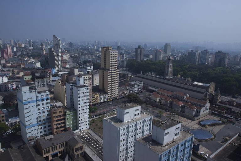 Vista panorâmica com estação Luz ao fundo, a partir do edifício SP Next Home