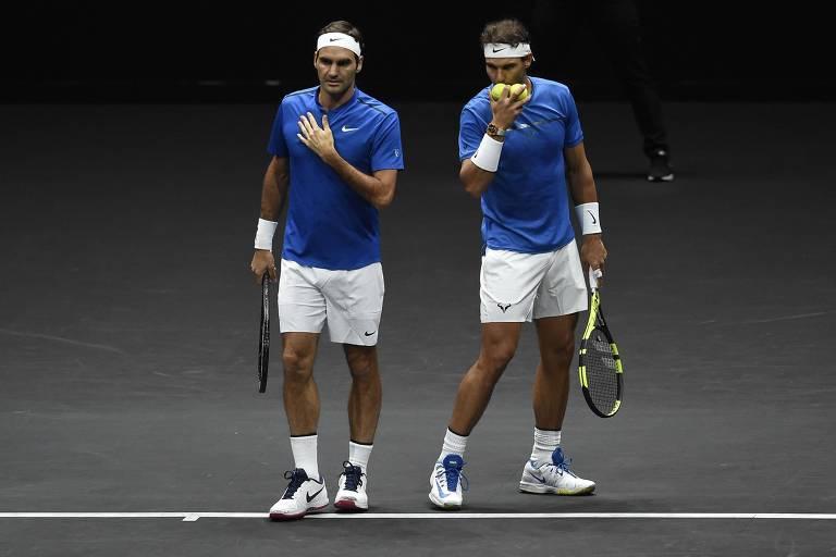 Federer e Nadal jogando duplas juntos? Teve isso na edição de 2017 da Laver Cup, torneio criado pelo suíço e que naquele ano foi sediado em Praga