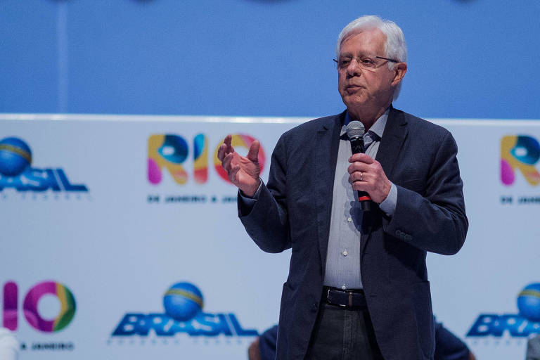 O Ministro-chefe da Secretaria-Geral da Presidencia do governo Michel Temer, Moreira Franco, discursa para jornalistas na cerimonia de lancamento da Rio de Janeiro a Janeiro.