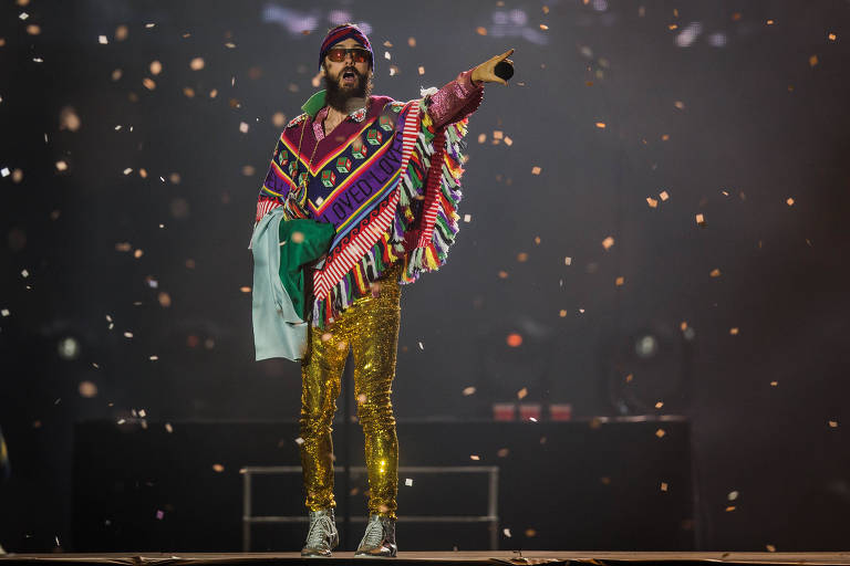 O vocalista Jared Leto na apresentação da banda 30 Seconds to Mars no palco Mundo, no sétimo e último dia do Rock in Rio 2017