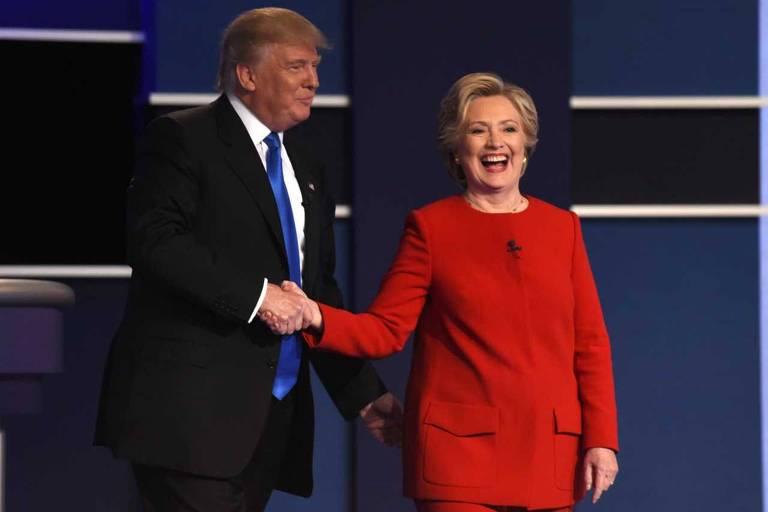 Donald Trump e Hillary Clinton ap�s o primeiro debate da campanha presidencial